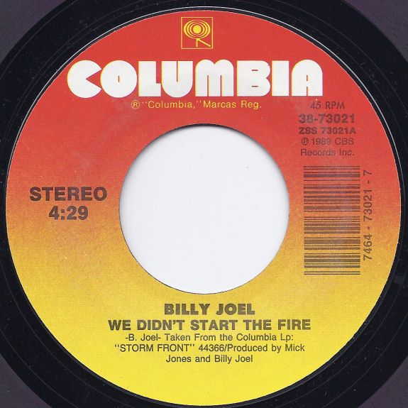 We Didn T Start The Fire Billy Joel: Record Labels (45 RPM)